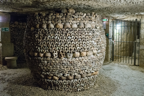 "This ""Barrel"" of skulls also acts as a support beam for the roof of the crypt"