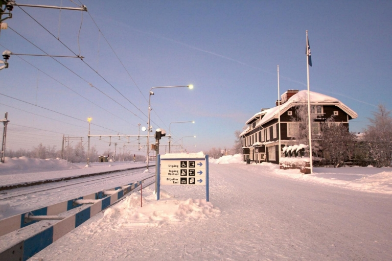 Finnish train station in winter