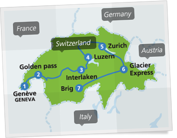 Map with example route in Switzerland