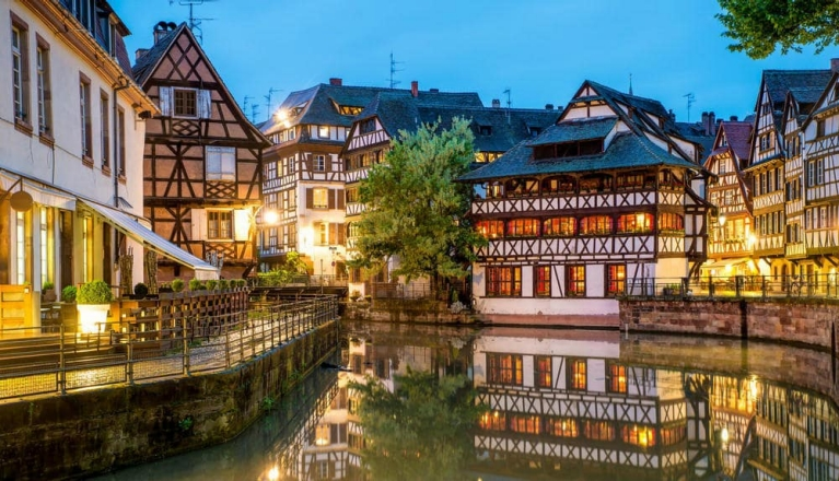Strasbourg and its charming canals at night