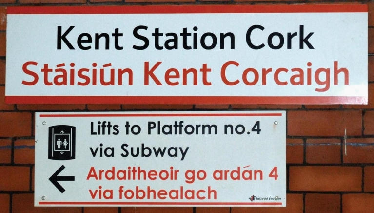 Signs at Cork Train Station Ireland