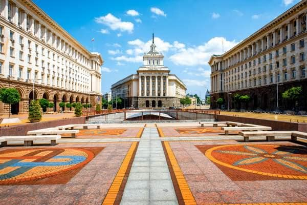 Image of impressive buildings and colourful pavements in Sofia, Bulgaria