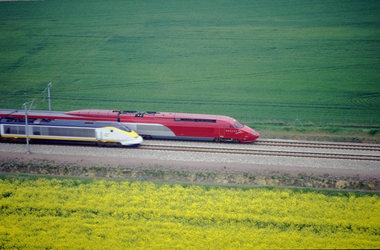 Thalys and Eurostar high-speed trains crossings fields in France