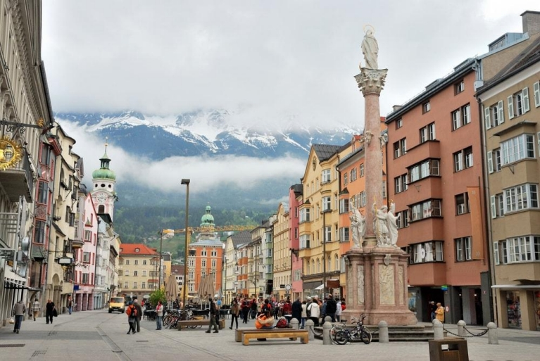 The Alps towering over Innsbruck, Austria