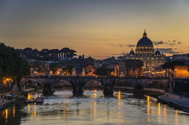 Views of Vatican City from the river Tiber at night Rome