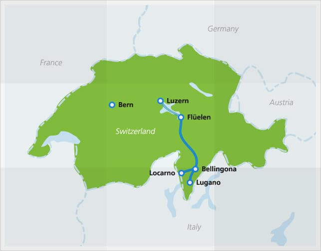 Map with route of Gotthard Panorama Express