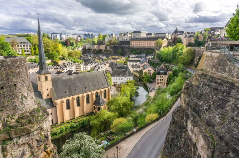 The view of Luxembourg city from the Corniche