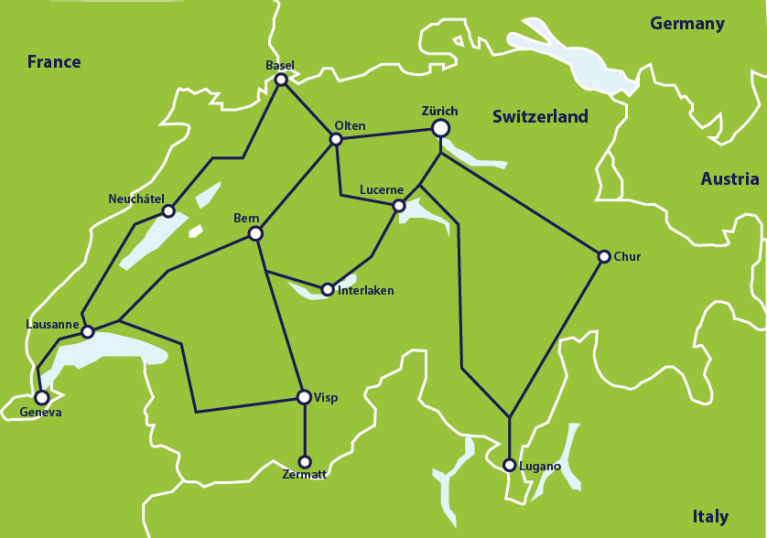 Map with main train connections in Switzerland